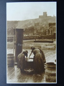 Yorkshire WHITBY Fishergirls Sorting Fish on Dockside c1915 RP Postcard - Judges