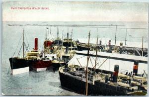 Vintage Texas Postcard BUSY GALVESTON WHARF SCENE Fishing Boats c1910s Unused