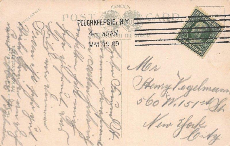 Poughkeepsie Yacht Club,  Poughkeepsie, N.Y.,  Early Postcard, Used in 1909