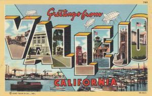 Large Letter Greetings VALLEJO, California, 1930-40s