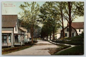 Jacksonville Vermont~River Street Homes~Dirt Road Close to Porches~1912 Postcard