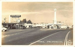 Indio CA Texaco Gas Station Restaurant Greyhound Bus Depot Real Photo Postcard