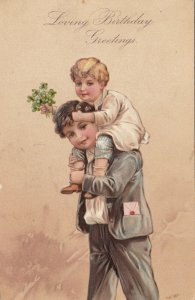 BIRTHDAY, 1911; Boy with little boy piggy-back with bouquet of flowers, PFB 7095