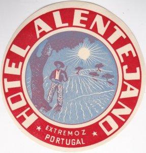 Portugal Extremoz Hotel Alentejano Vintage Luggage Label lbl0524