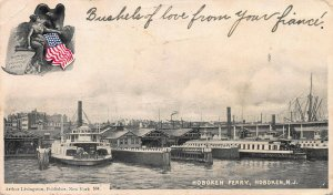 Hoboken Ferry, Hoboken, New Jersey, 1906  Postcard, Used, Arthur Livingston