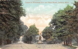 Jackson Michigan~Wildwood Ave & Main Street Corner~Monument Ahead~1909 Postcard