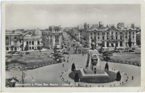 1937 RPPC Monumento y Plaza San Martin Lima Peru , Standard Size