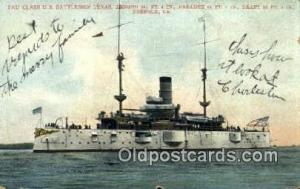 2nd Class US Battleship, Texas Military Battleship Postcard Post Card Old Vin...