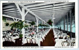 West Haven, Connecticut Postcard WILCOX'S PIER RESTAURANT Main Dining Room Linen