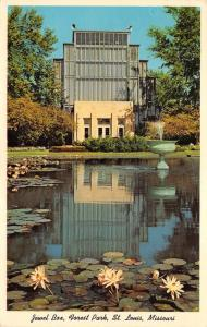 St Louis Missouri~Forest Park-Jewel Box~Fountain in Pond~Blooming Lily Pads~1962