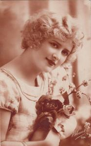 Vintage glamour lady with flowers postcard