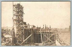 RPPC Men @ Work~Scaffolding Tower~Steam-Driven Machine~Saw Horses~Church? c1910
