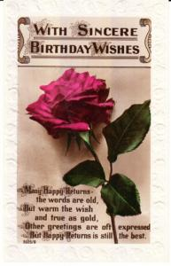 Birthday Greetings- UK 1927 Embossed Border