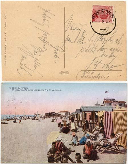 Italy to Czechoslovakia - Card Showing Beach at Grado