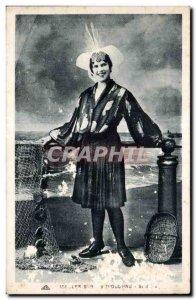 Old Postcard The Sands of Olonne Sablaise Folklore Costume