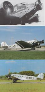 Junkers JU52 D-Aqui Lufthansa 3x Postcard s