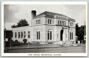 Metropolis Indiana~Post Office~Military Recruiting Posters~1957 B&W Postcard