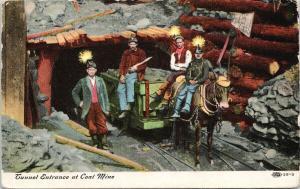 Tunnel Entrance at Coal Mine Peckville PA Penn Miners c1909 Postcard E62