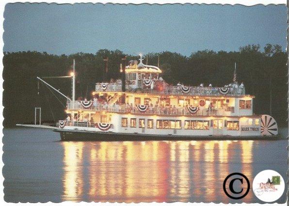 Vintage Postcard Missouri Riverboat Mark Twain Life On The Mississippi