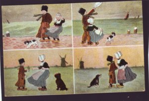 P1360 vintage unused postcard multi view dutch boy girl dog the kiss