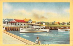 Carolina Beach North Carolina Boats Moored Waterfront Antique Postcard K50583
