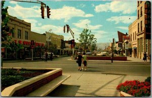 Grand Junction, Colorado Postcard Main Street Downtown Shopping Park 1964
