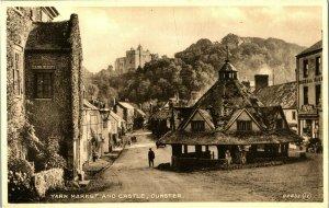 Yarn Market And Castle Dunster postcard antique vintage printed England