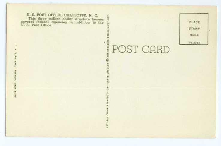Post Office Charlotte North Carolina NC