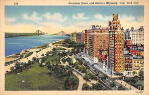 New York City, Riverside Drive and Express Highway, panorama with bridge