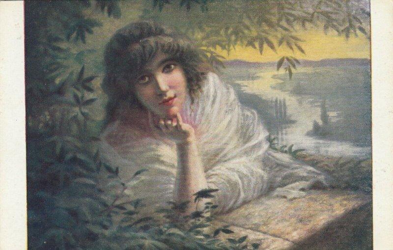 Woman portrait , 1900-10s ; #46A ; Artist Signed P.-E. Mesples