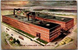 Moline, Illinois Postcard VELIE CARRIAGE CO. Artist's Factory View c1910s Unused