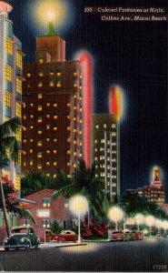 Florida Miami Beach Colored Fantasies At Night Along Collins Avenue