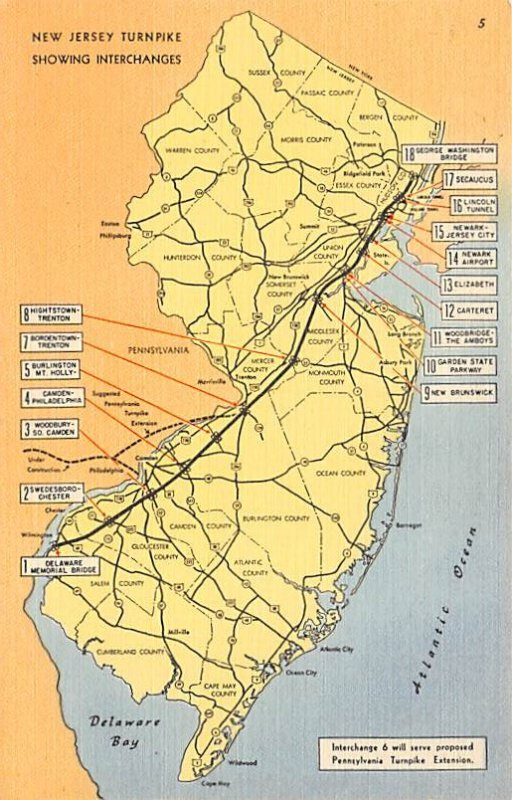 Maps New Jersey Turnpike showing interchanges USA Unused