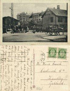 norway norge, HAUGESUND, Landmandstorvet, Market Scene (1920) Postcard
