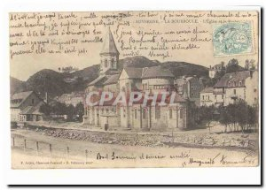 Auvergne Old Postcard La Bourboule L & # 39eglise and the rock