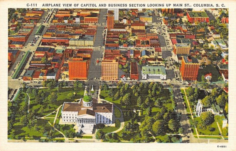 Columbia South Carolina~Airplane View Of Capitol And Business Section~1940 PC