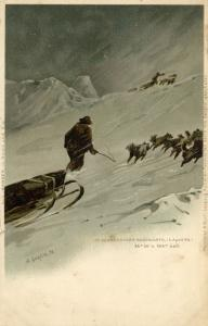 1895 Arctic Expedition Nansen in a Snowstorm Northward (1898) Signed A. Goldfeld