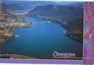 Oregon Lane County Dexter Dam Aerial View Lowell Bridge Salem  Postcard  # 7063
