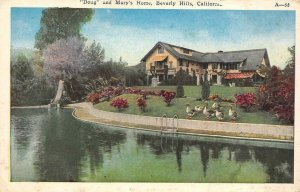 Pickfair Mary Pickford Doug Fairbanks Beverly Hills Home c1920s Vintage Postcard