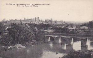 Cite de Carcassonne, Vue Generale Nord-Ouest Les deux Ponts sur l'Aude,  Fran...
