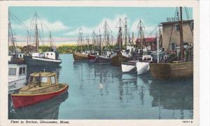 Massachusetts Gloucester Fishing Fleet In The Harbor 1949 Curteich