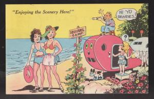 Comic Postcard - Women On Beach Man With Telescope - Used 1951
