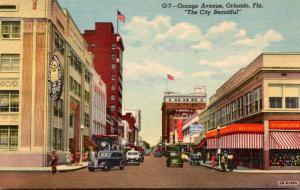 Florida Orlando Orange Avenue With Woolworth Curteich
