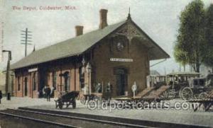 The Depot, Coldwater, MI, Michigan, USA Train Railroad Station Depot Post Car...