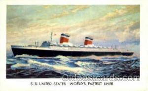 S.S. United States, World's Fastest Liner Ship Shps, Ocean Liners,  Postcard ...