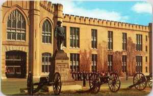 Stonewall Jackson statue at Virginia Military Institute Lexington VA postcard