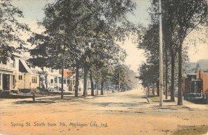 Spring Street Scene, Michigan City, IN ca 1910s Hand-Colored Vintage Postcard