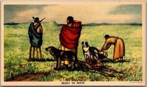 Native Americana Postcard READY TO MOVE Artist-Signed Andrew Standing Soldier