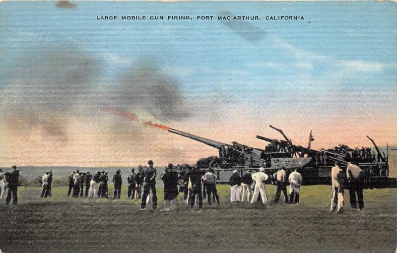 Fort MacArthur California~Large Mobile Gun Firing~Soldiers Watch~Military~1940s