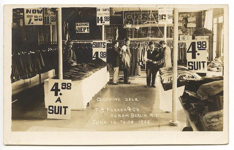 South New Berlin NY Parker Clothing Store Sale  RPPC Real Photo Postcard